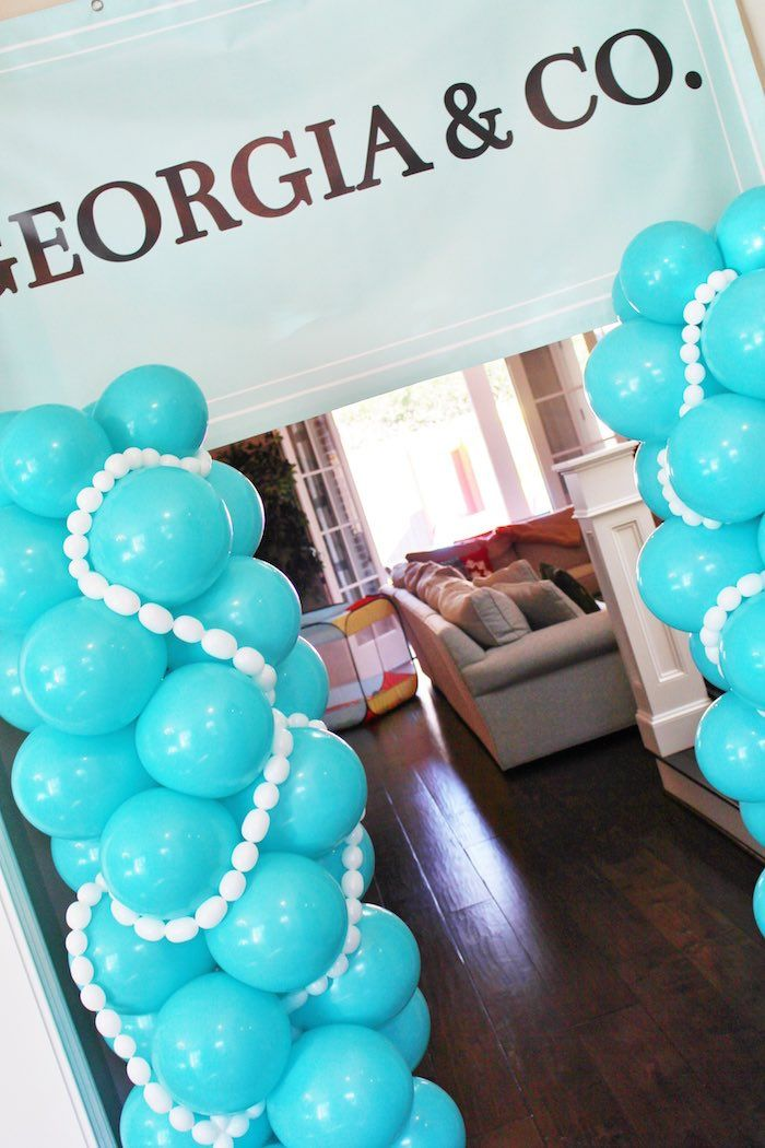 Balloon arch detail from a Breakfast at Tiffany's Birthday Party via Kara's Party Ideas KarasPartyIdeas.com (25)