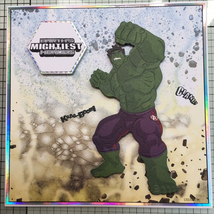 Marvel Hulk die cut using colourful Creations and back ground paper