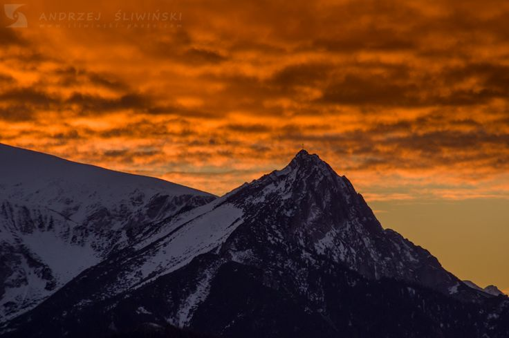 Burning sky over Giewont Mountain, Tatra Mountains, Poland