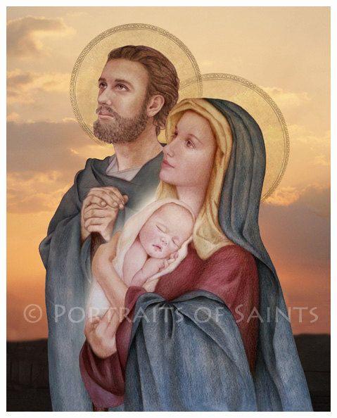 The Holy Family, St. Joseph, Virgin Mary and Infant Jesus 8x10 Catholic Print