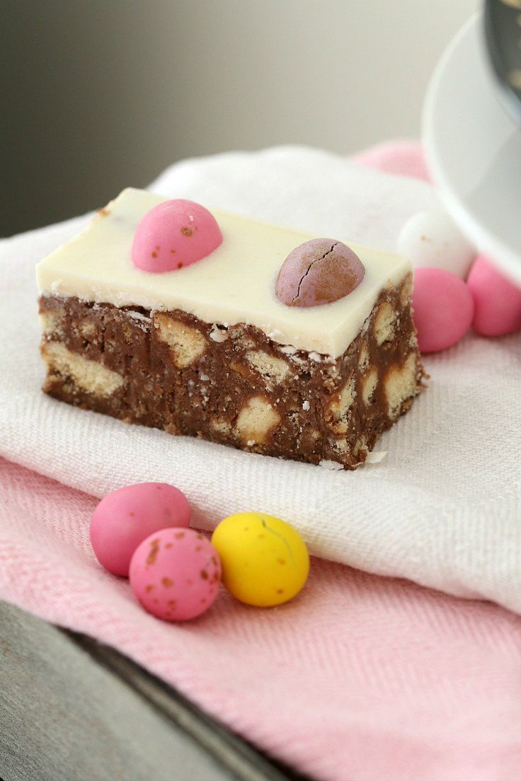 This Chocolate Hedgehog Easter Slice is a fun variation on a classic favourite hedgehog recipe… biscuits, chocolate and coconut with a special Easter twist! #easter #chocolate #slice #recipe #easy #nobake #hedgehog #thermomix #conventional #best #video