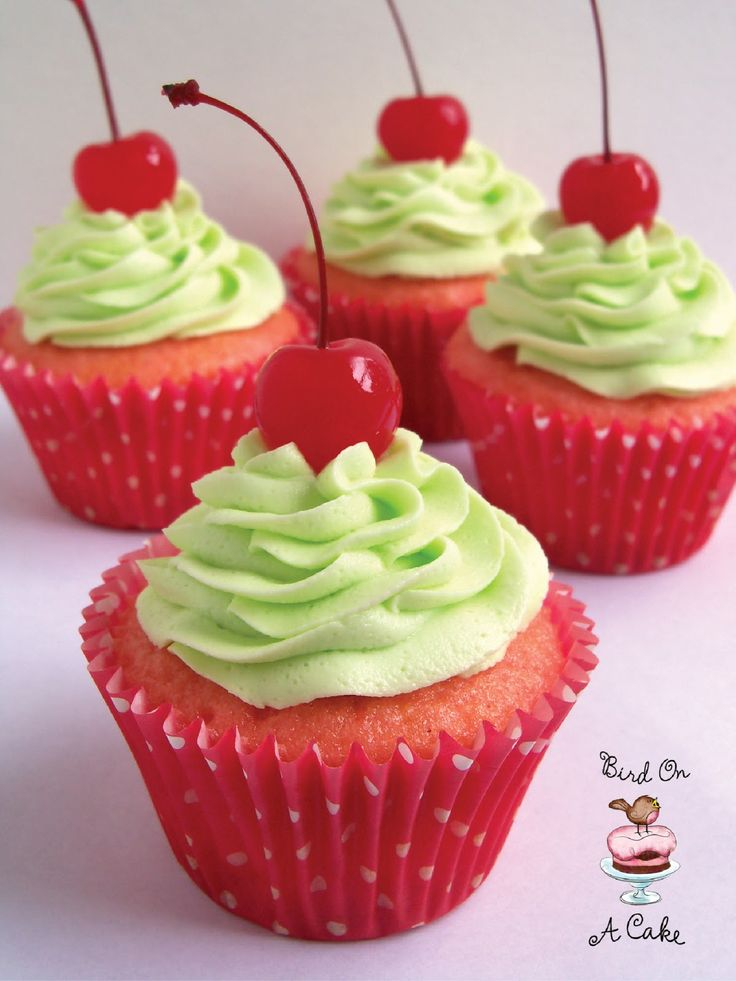 Cherry Limeade Cupcakes . . . I substituted a cherry chip cake mix.  They are very rich, only need one!