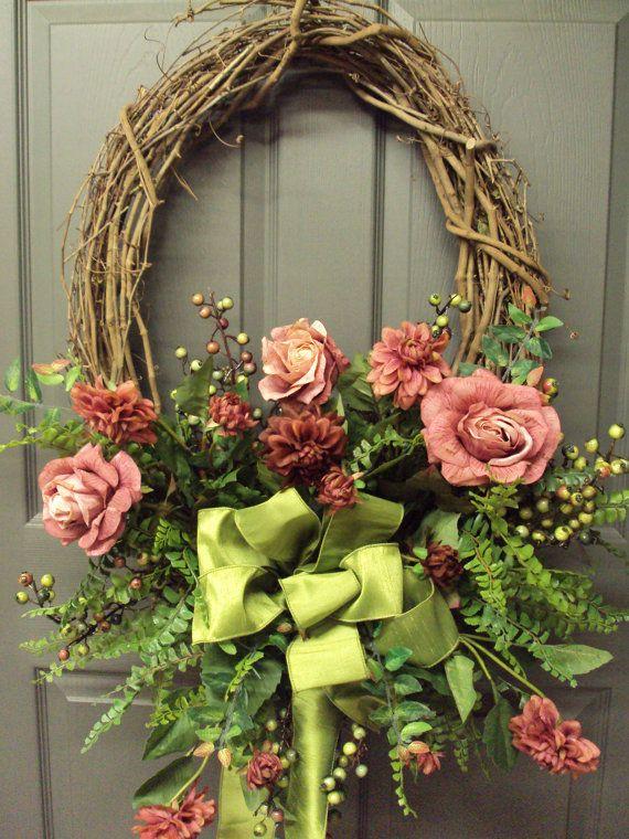 Front door wreath spring wreath summer wreath fl wreaths front door