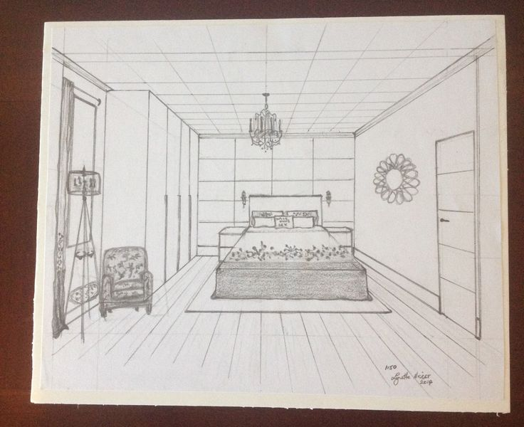 one point perspective sketch of bedroom by lynette nisbet