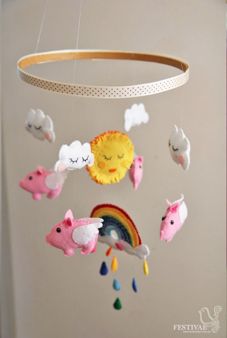 best diy nursery mobiles images on pinterest  nursery mobiles  - diy nursery mobiles  diy felt flying pigs baby mobile