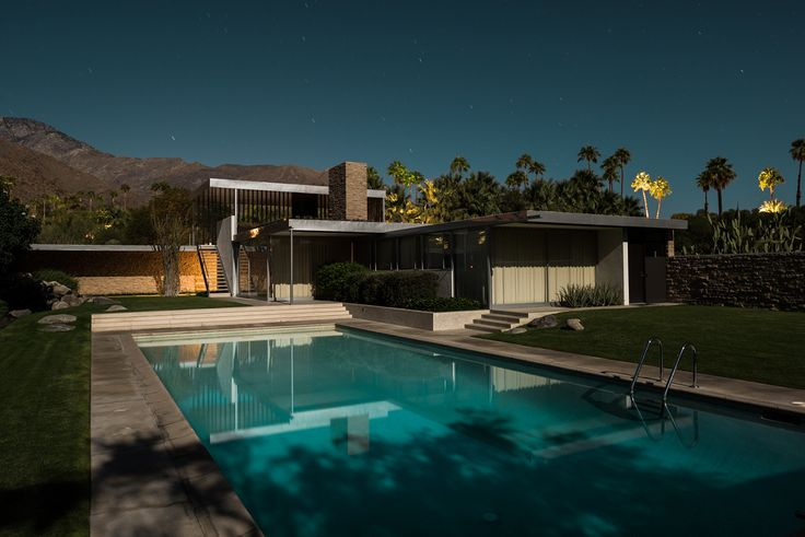 Classic Palm Springs Mid-Century architecture photographed by the light of a full moon.