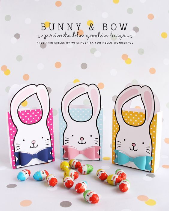Bunny and Bow Free Printable Goodie Easter Bags
