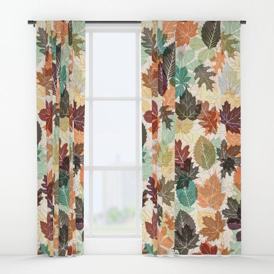 Autumn Leaves 2 Window Curtains         Fall, nature, interior inspiration, fashion, lifestyle, home decor, warm, colorful, style,