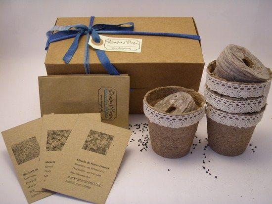 Caja con semillas flores variadas y complementos. La semilla es el comienzo de una vida, de una amistad, de un proyecto #personalizar #regalar