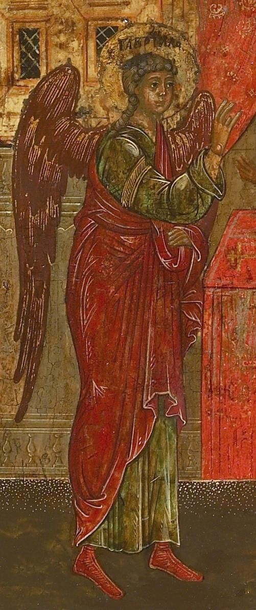 Detailed view: V039. Archangel Gabriel appearing to Zacharias- exhibited at the Temple Gallery, specialists in Russian icons