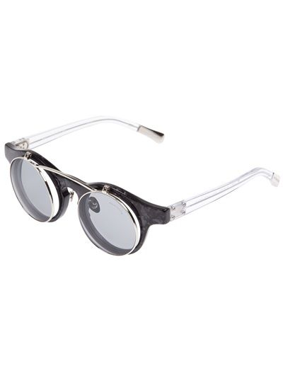 Linda Farrow By Kris Van Assche 'Flip Up Round' Sunglasses