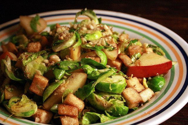 shredded brussels sprouts, apples, and tofu by guessica, via Flickr