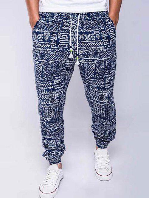 Cotton+Linen Geometric Print Lace-Up Beam Feet Jogger Pants