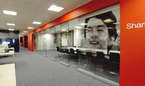 Operable glass wall to boardroom