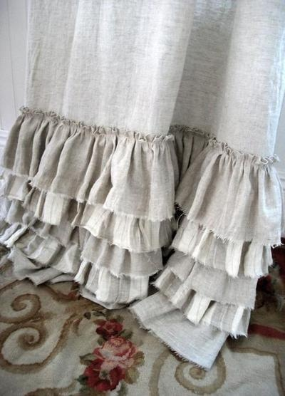 burlap ruffle...bed skirt maybe???