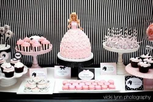 Barbie Cake & Buffet Table
