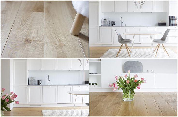 Drewniana podłoga marki ESCO. Postarzana kolekcja Dąb Pelgrim Natural w selekcji superb świetnie komponuje się z jasną aranżacją pomieszczenia. Mix długościowy desek do 175 cm oraz wzdłużne fazowanie pozwalają na uzyskanie efektu długiej deski.