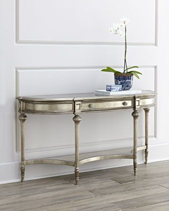 """Harmony Console Table at Horchow.Made of hardwoods and antiqued mirrored glass. One drawer and one shelf. 58""""W x 16""""D x 30""""T $825"""
