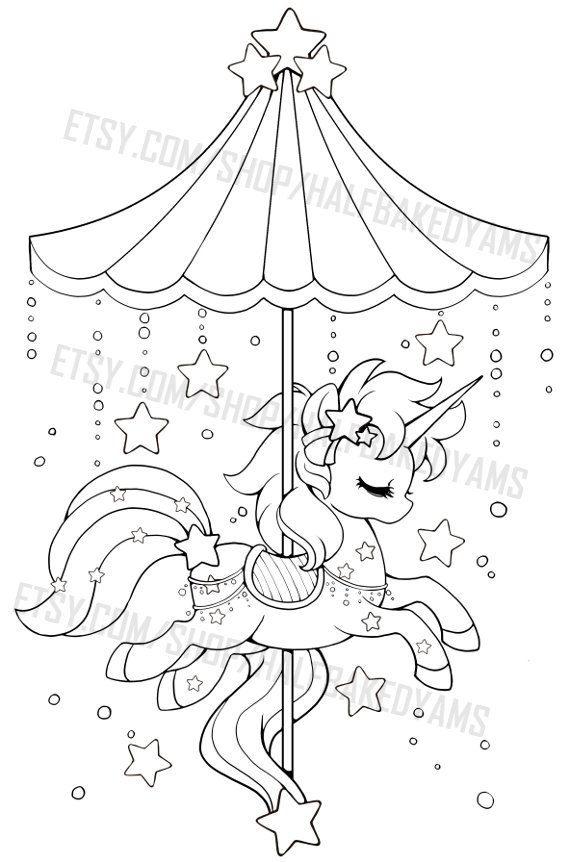 Celestial Carousel Shooting Star Pegasus Clip Art