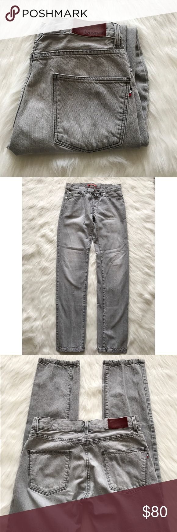 "Lacoste Live Slim Fit Gray Raw Jeans Great Pre-Owned Condition. Waist - 30"" Inseam - 32"" Lacoste Jeans Slim Straight"
