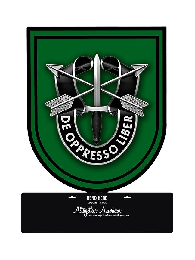 From the Altogether American licensed collection, this 10th Special Forces Group Table Top Sign measures 6 inches by 7 inches and weighs in at 1 lb(s). This custom metal shape is hand made in the USA