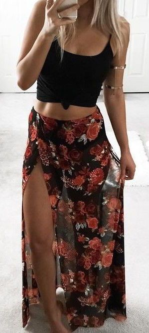 #summer #outfits / split floral maxi + tank top