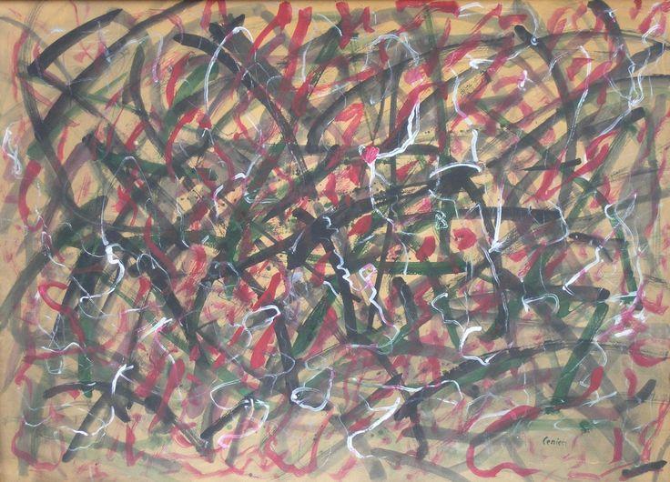 Alfred LENICA ,Kompopzycja, około 1958-1960 , tempera, tektura, 73 x 99 cm