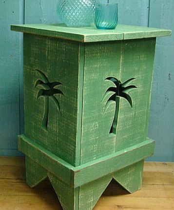 Side Table Night Table Wood Shutter Table - Choose Your Color and Cutout by CastawaysHall