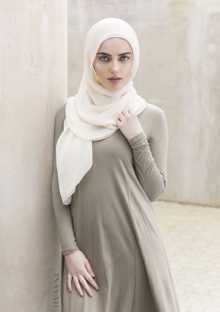 Spring Styling in ethereal hues. Classic structures and casual modest fashion at its finest. Light Olive Tailored Flare #Abaya + Off White Maxi Silk Chiffon #Hijab - www.inayah.co