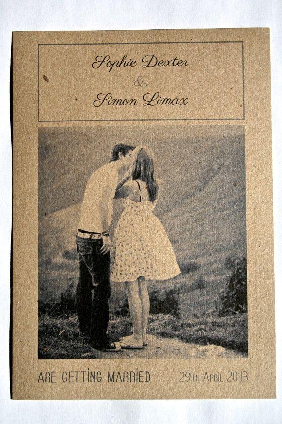 Wedding invitations - engagement photo - vintage style - modern - eco-friendly - bilingual. €87.00, via Etsy.