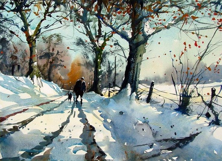 Tim wilmot watercolor art watercolor winter christmas for Watercolor scenes beginners
