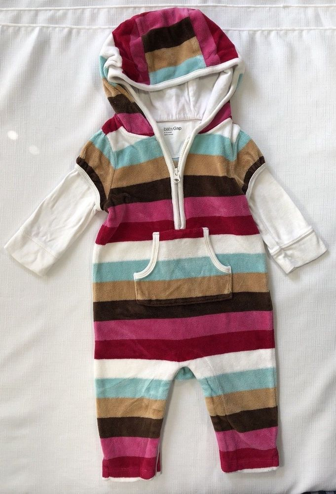 032a906ab Gap Baby Girls 3-6 Months Striped Velour Hooded Romper Red Pink ...