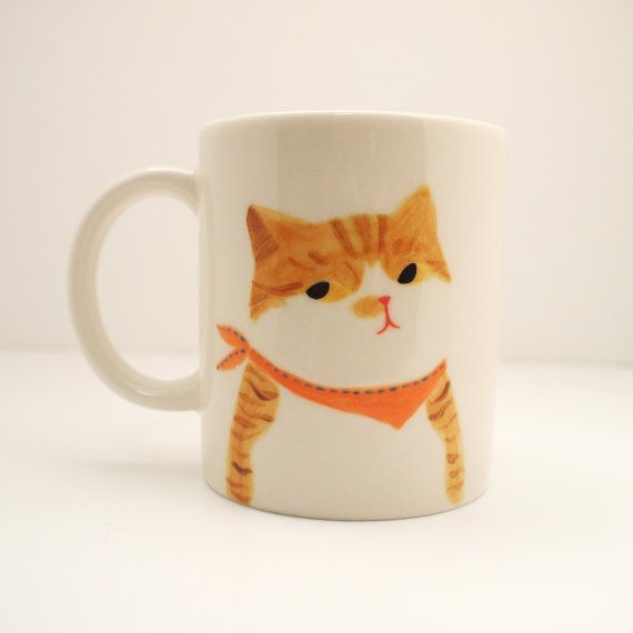 Yellow Tabby Cat Mug Cup Hand painted original by StudioSosim