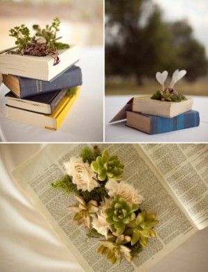 Diy Tutorial On Vintage Book Planter With Succulants Fabric Flowers