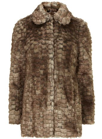 Mink textured long fur coat
