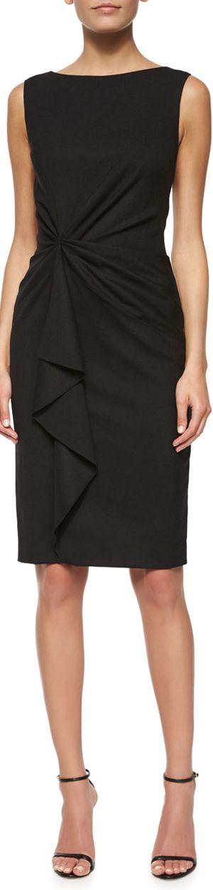 Carolina Herrera    Faux-Wrap Ruffled Sheath Black Dress