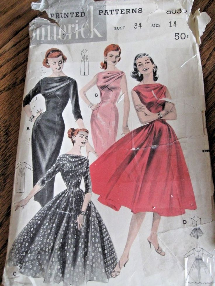 Vintage Butterick Sewing Pattern Dress # 8038 - Size 14 Bust 34 Complete