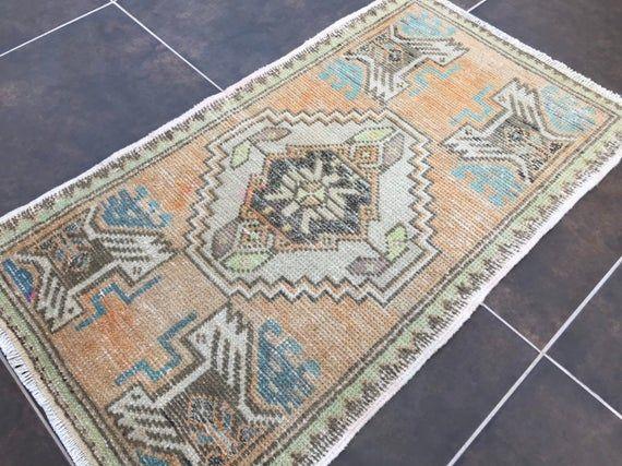 2x3 Small Rug Turkish Rug Oushak Rug Vintage Small Carpet