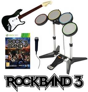 New Xbox 360 Rock Band 3 Game w Drums Mic Guitar Instruments Bundle Set Kit III | eBay