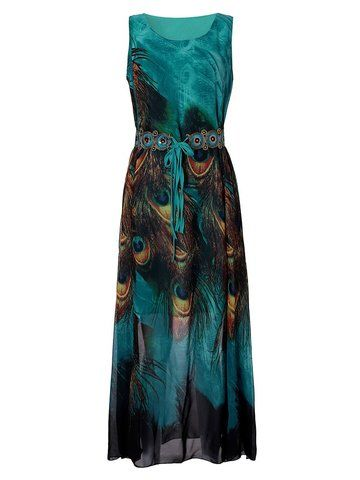 US$19.68 Women Sleeveless O Neck Peacock Printed Maxi Derss Bohemian Summer Beach Dress Shopping Online - NewChic