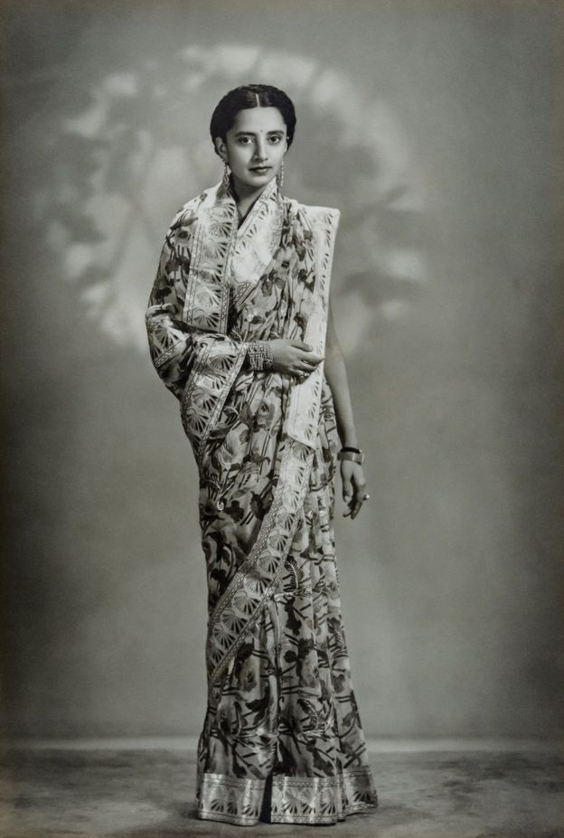 Thakorani Vijayalakshmi Devi Sahiba of Kotda Sangani, in Gujarat, in 1941-1942. Photo courtesy Urmila Devi/Tasveer Mysore