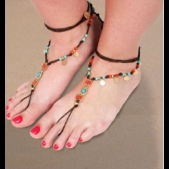 """HUGE SALE TURQ & CORAL BEADED BAREFOOT SANDAL Adjustable so this fits ANY size foot. Faux leather cord. 31"""" likes nag. Adjustable toggle closure. 4.75"""" long toe piece. NO MODELING. NO TRADES. Accessories"""