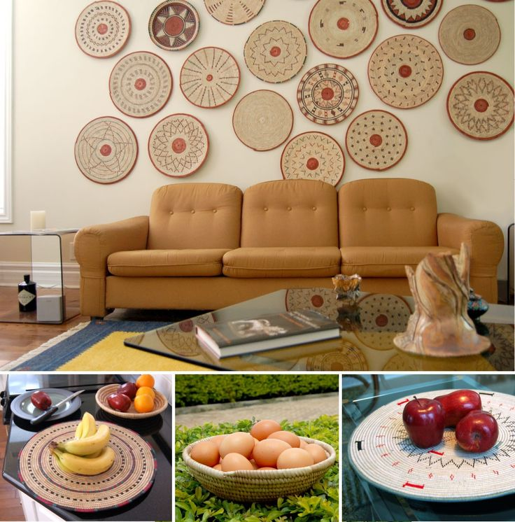 2015 Gift Guide for a Modern Global Lifestyle: Home Accessories -- Incredibly versatile woven plates and bowls. Use as charger plates, trivets, tabletop centerpieces or as fruit bowls. Design your eclectic modern global wall art: hang a grouping to suit your style. Each piece is handwoven with natural fibers or upcycled materials in West Africa.