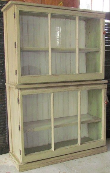 Trash to treasure....2 old windows + 2 old drawers = new cabinet - use for vintage bottles?!