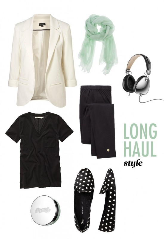 Excellent outfit for plane or car travel - leggings, tee, blazer & flats (also excellent work outfit for me!)