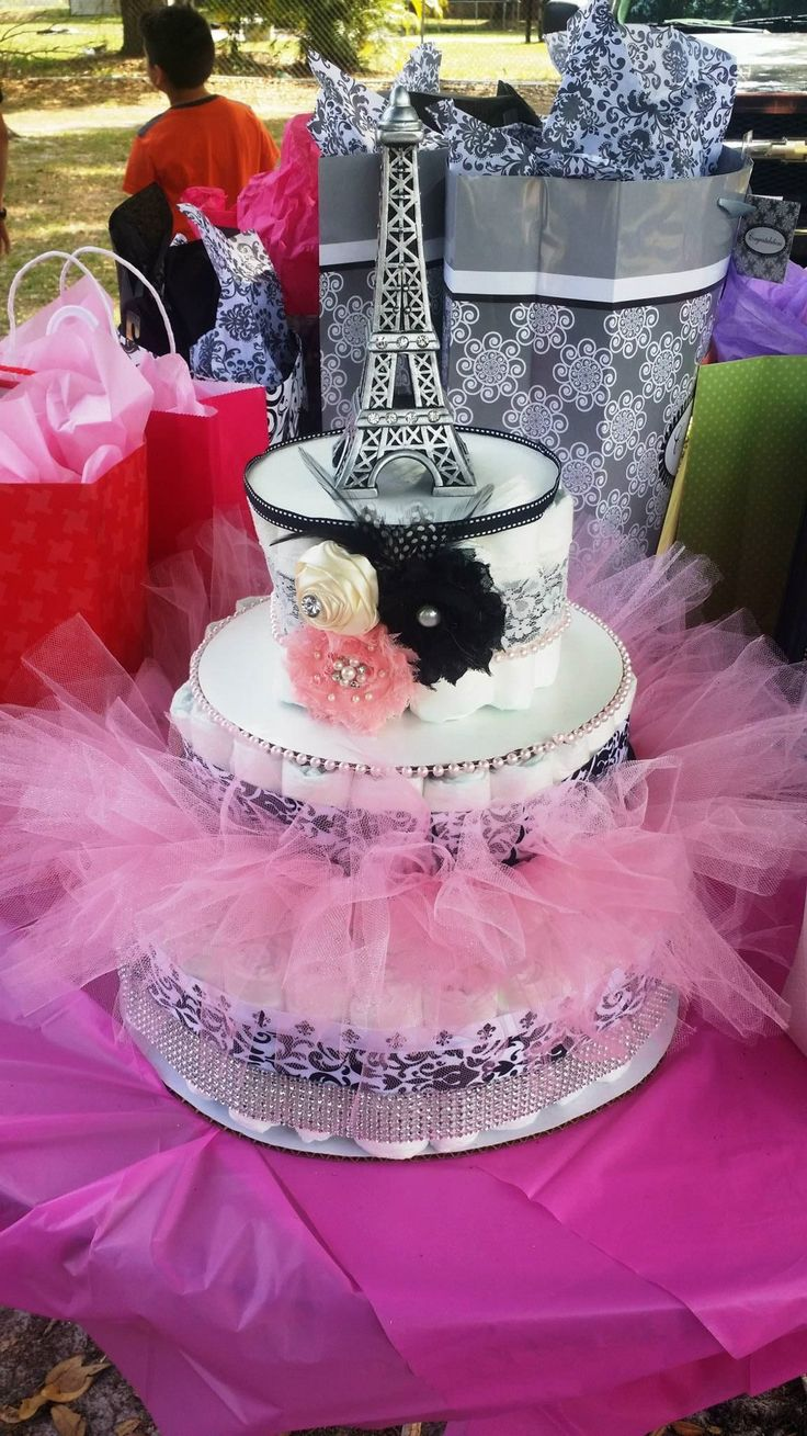 My diaper cake for my baby shower Paris theme