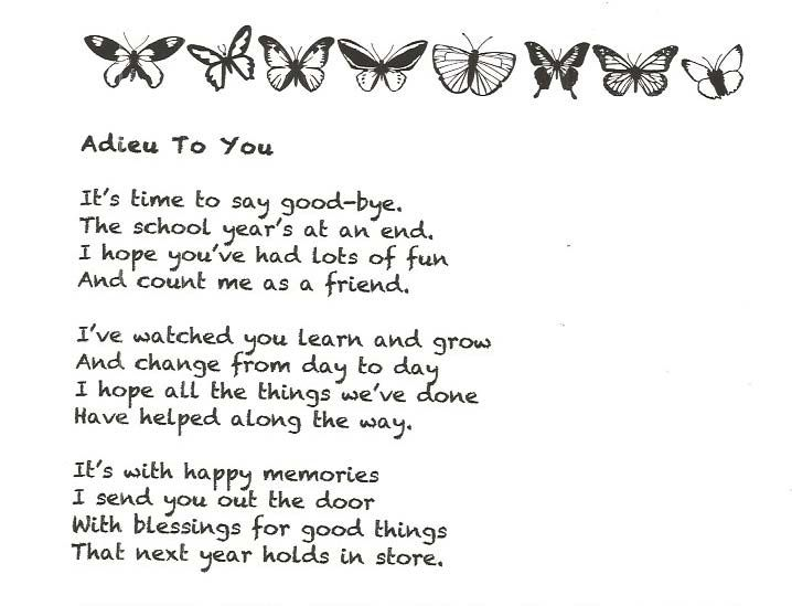 End of the Year Good-Bye Poem | Teaching | Poems about ...