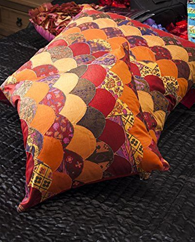 Value Patchwork Funky Stripped Colourful 60cm x 60cm Cushion with Inner in Brown,…