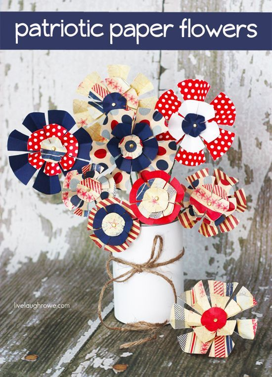 Patriotic Paper Flowers.  Perfect for using as a centerpiece or party favors! Tutorial at livelaughrowe.com