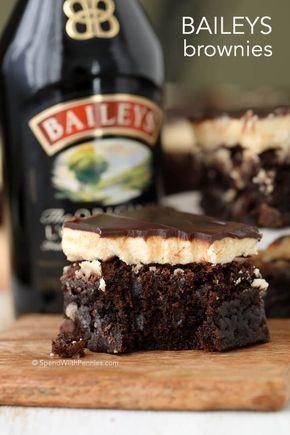 Rich fudgy brownies with a fluffy buttery Baileys frosting and topped with a rich boozy Baileys chocolate ganache. These are definitely the best brownies we've ever had!